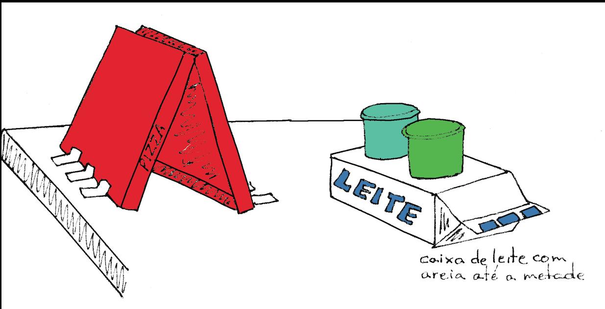 Cavalete de pintura com caixa de pizza